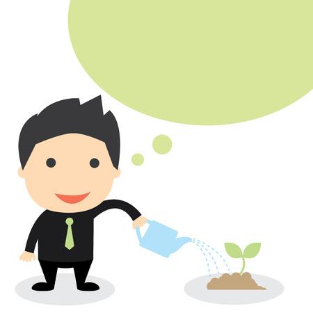 businessman Watering plants  vector illustration  business grow concept Vector