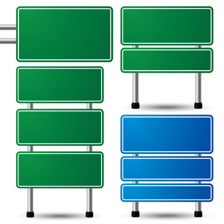 Blank green and blue traffic road sign set on white background for your message  vector illustration Vector