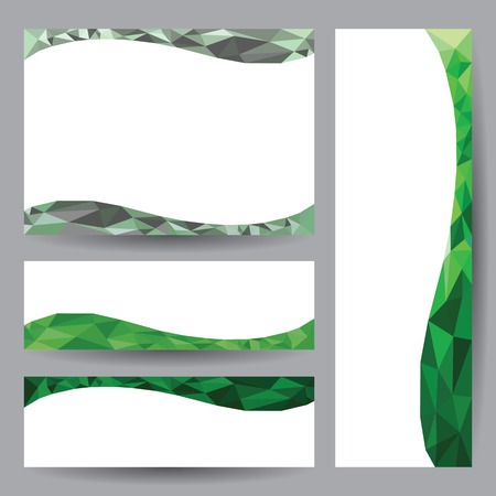 Template card Abstract 3D geometric green element design background  vector illustration Illustration