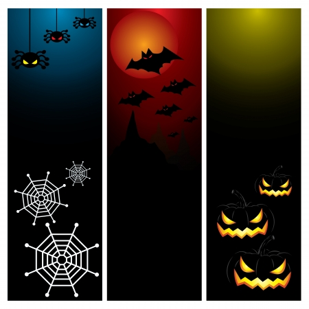 Happy Halloween day banner set design, vector illustration Stock Vector - 22699372