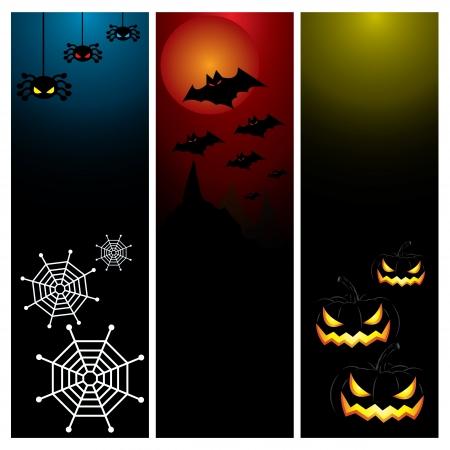 Happy Halloween day banner set design, vector illustration Stock Vector - 22699372