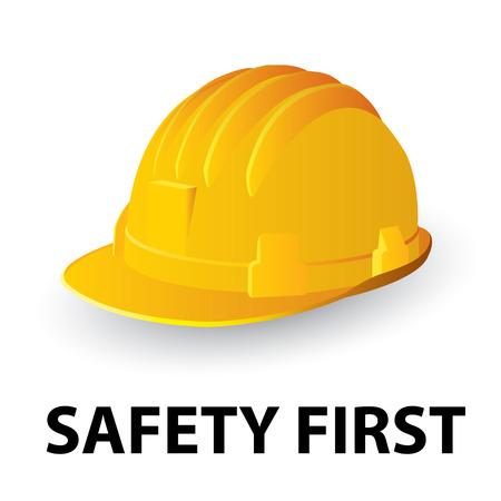 hut: Gelbe Sicherheit Schutzhelm. Vektor-illustration