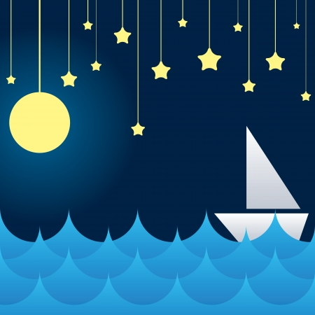 sea star: boat at sea waves, moon and star on sky. vector illustration Illustration