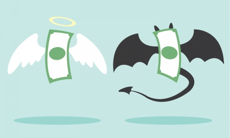angel white: angel money with white wing and devil money with black wing. vector illustration