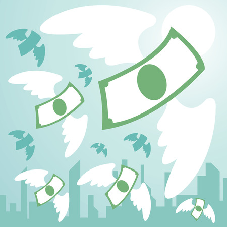 inflation: money with wing  flying from town. money freedom. vector illustration
