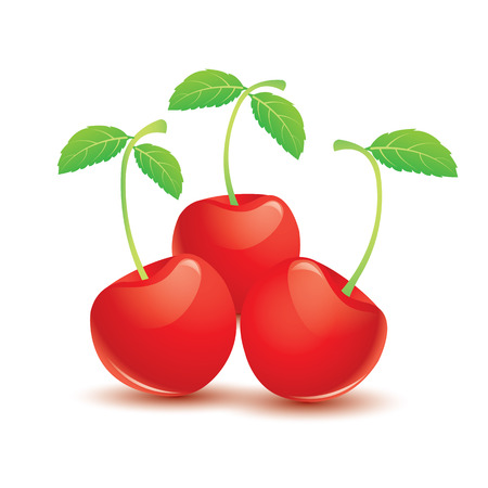 Three sweet ripe red cherry berries with leaves on white background. Vector illustration Illustration
