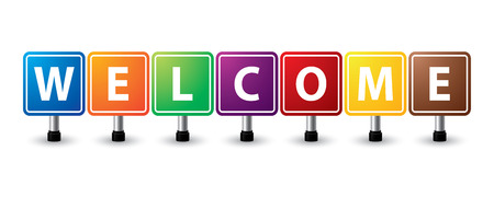 Welcome sign colorful on white background. vector illustration Vector