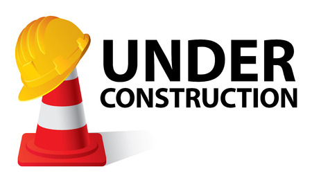 Yellow safety cap worker on red cone. Under construction concept. Vector illustration 일러스트
