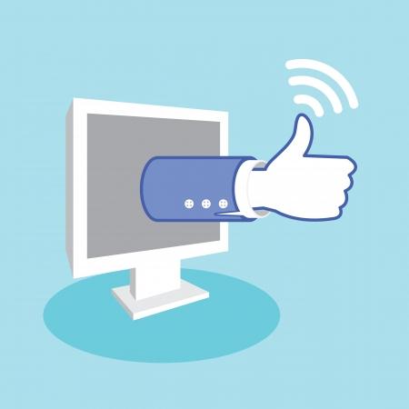 Positive feedback from social network online marketing. Business thumbs up. Vector illustration Illustration