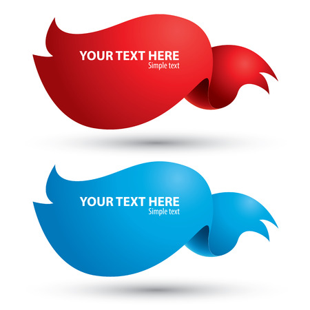 Text box ribbons banner red and blue on white background for your text. vector illustration