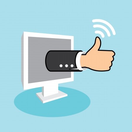 Positive feedback from social network online marketing. Business thumbs up. Vector illustration Stock Vector - 23856991