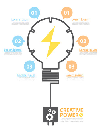 Light bulb with option banner for your message. Concept Creative power options banner. Vector illustration. flat design design layout for poster, flyer, cover brochure, number options, web design, infographics.