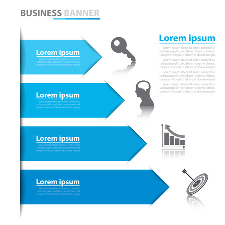 Business arrow banner infographics. Vector illustration. Can be used for layout, diagram, number options, web design, infographics Vector