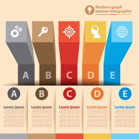 option key: Modern graph banner infographic. Vector illustration. Can be used for layout, diagram, number options, web design, infographics