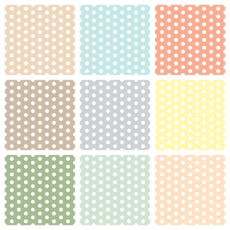 Vintage seamless polka dot patterns set. vector Vector
