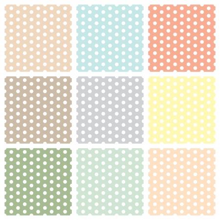 polka: Vintage seamless polka dot patterns set. vector