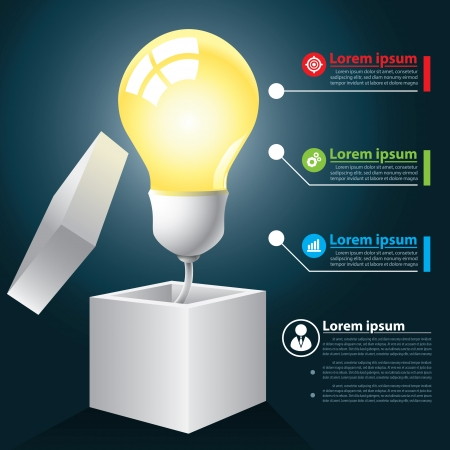 Light bulb with box infographic, thinking outside the box and open idea concept. Can be used for layout, web design, brochure, flyer, leaflet, infographics