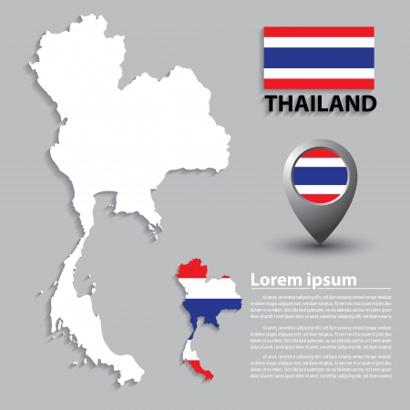 Flag and Map of Thailand. vector illustration