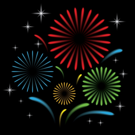 Fireworks with star on black background, Vector illustration Vector