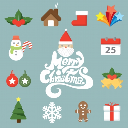 Christmas symbol icon set. vector illustration Vector