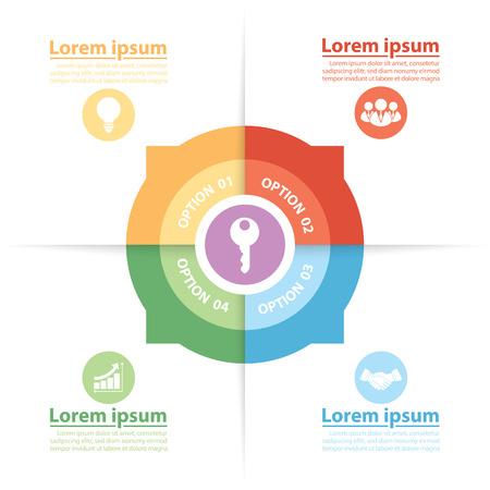 successful people: Cerchio Infografica dei fattori chiave di successo, illustrazione vettoriale, Design piatto