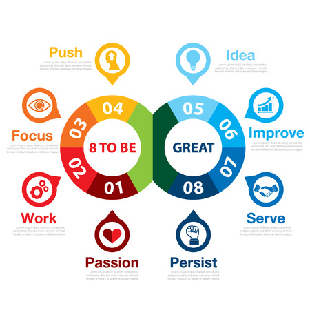 great success: 8 to be great infographic. Success way concept. Can be used for layout, web design, brochure, flyer, leaflet,  template, infographics Vector illustration Illustration
