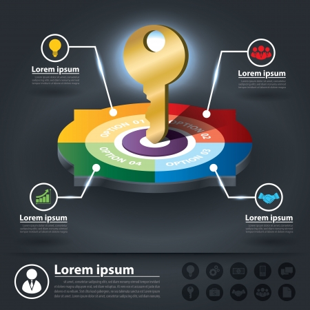 factors: Circle Infographics of key success factors. Can be used for layout, web design, brochure, flyer, leaflet, infographics, vector illustration