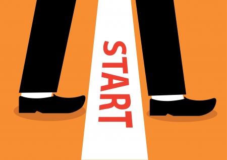 empezar: Comience el negocio, ilustración vectorial, plana y un diseño minimalista. Vectores