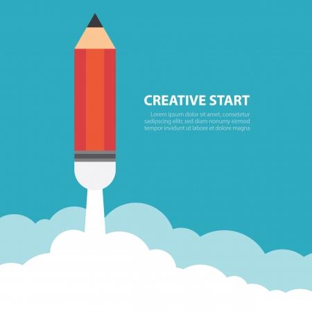Art lancering potlood raket met hemel ruimte, Creatieve start, Vector illustratie.