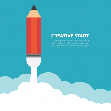 Art launch pencil rocket with sky space, Creative start, Vector illustration. Illustration