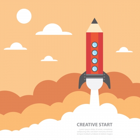 Art launch pencil rocket with sky space, Creative start, Vector illustration. Ilustracja