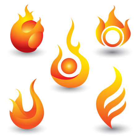 Fire flames symbol icons set , vector illustration.