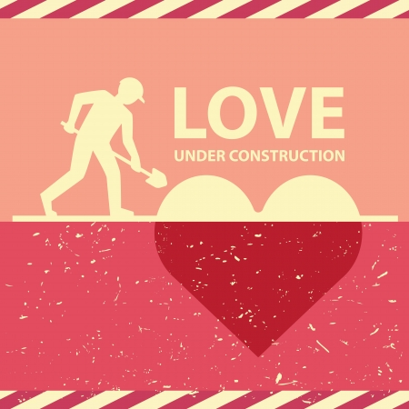 Retro love under construction, vector illustration cover, love concept. Can be used for layout, web design, brochure, flyer, leaflet, template, card Vector