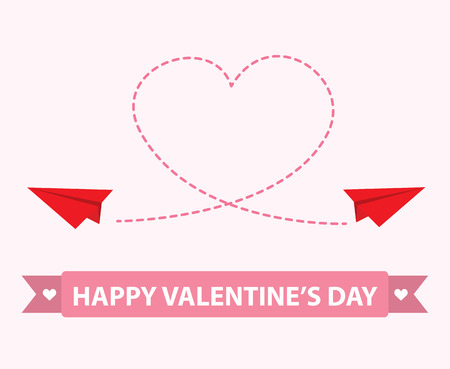 Origami paper plane with dashed heart . Vector illustration. love concept. cover design for valentine card, brochure ,flyer