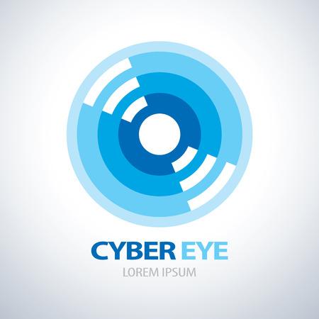 ojos azules: Ciber icono símbolo del ojo. ilustración vectorial Vectores