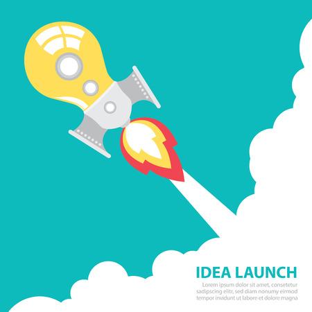 light bulb rocket launch with sky  Creative idea concept  Vector illustration  Flat design 일러스트