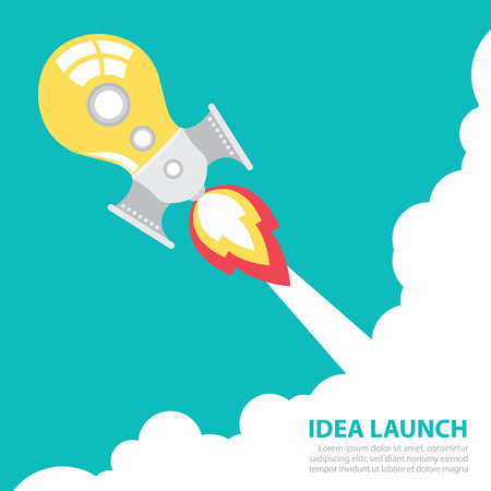 light bulb rocket launch with sky  Creative idea concept  Vector illustration  Flat design Vector