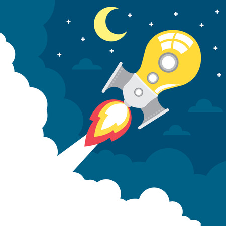 light bulb rocket launch with moon, star, and cloud  Creative idea concept  Vector illustration  Flat design Vector