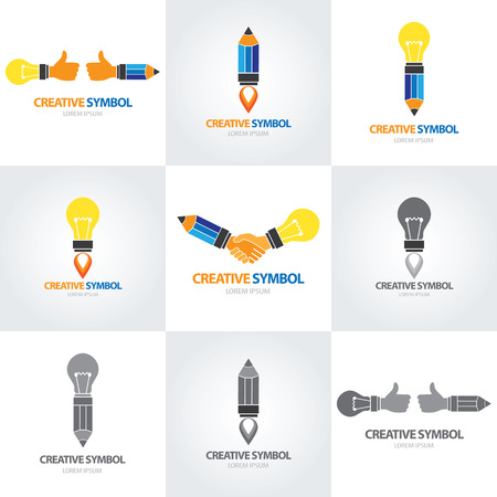 Creativo simbolo icon set. illustrazione vettoriale Vettoriali