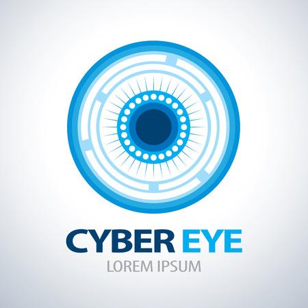 ojos azules: Ciber icono del símbolo del ojo. ilustración vectorial
