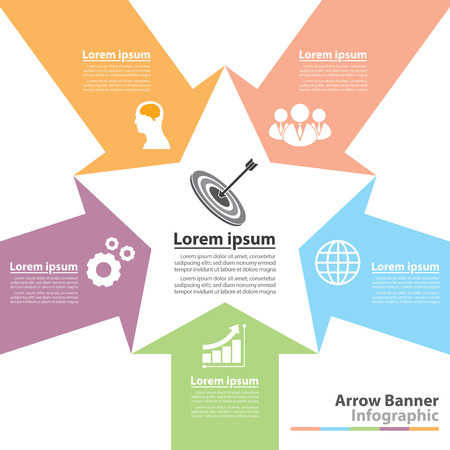 Arrow banner infographic.  Flat design. Vector illustration. Can be used for layout, web design, cover design, brochure, flyer, leaflet, infographics, template, diagram, number options Vector