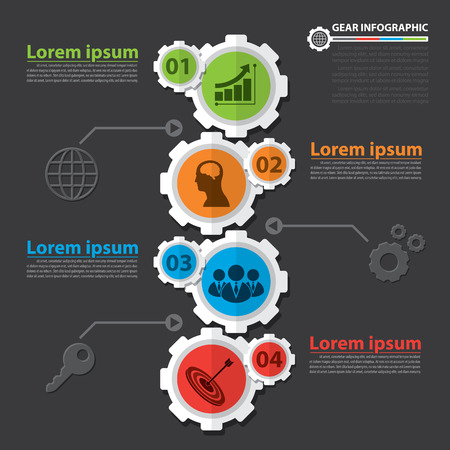 Gear infographic. Flat design. Vector illustration. Can be used for layout, web design, cover design, brochure, flyer, leaflet, infographics, template, diagram, number options Ilustracja