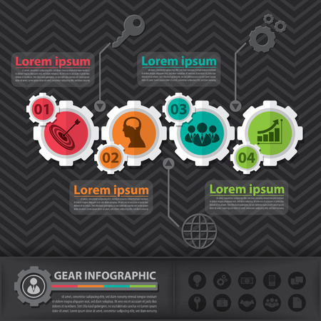 Gear infographic. Flat design. Vector illustration. Can be used for layout, web design, cover design, brochure, flyer, leaflet, infographics, template, diagram, number options Vector