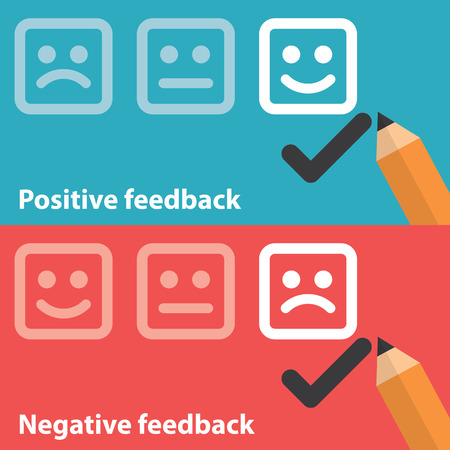 evaluation: Vector illustration of positive and negative feedback concept. Minimal and flat design Illustration