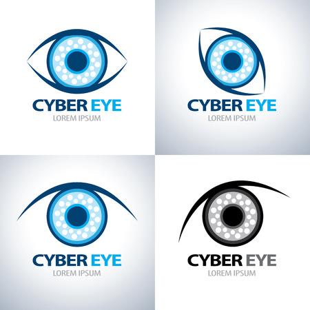 Cyber eye symbol icon set. vector illustration 일러스트