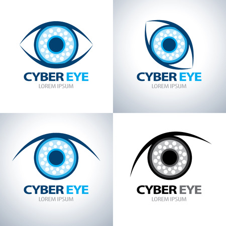 Cyber eye symbol icon set. vector illustration Illustration