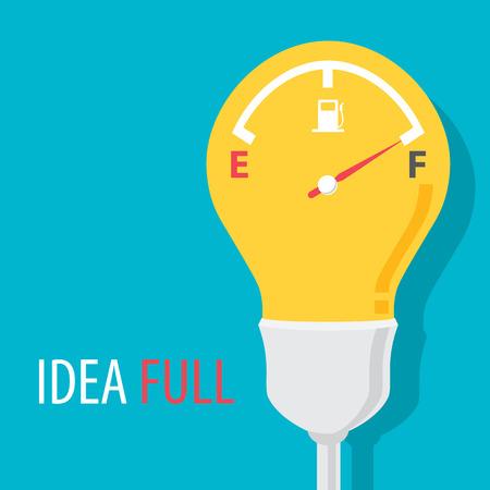 Idea full symbol with blue background. Vector illustration. Flat design Ilustração
