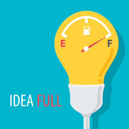 Idea full symbol with blue background. Vector illustration. Flat design Çizim