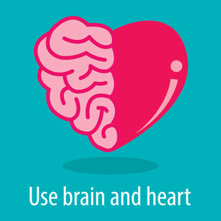 heart: Use brain and heart vector illustration. Success concept