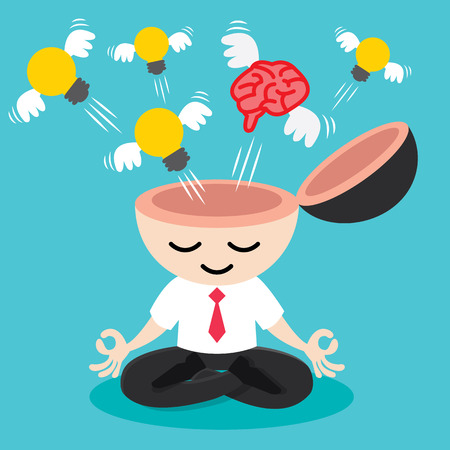 yoga meditation: Light bulb and brain with wing flying from businessman meditation. Building idea concept. Cartoon design Vector illustration